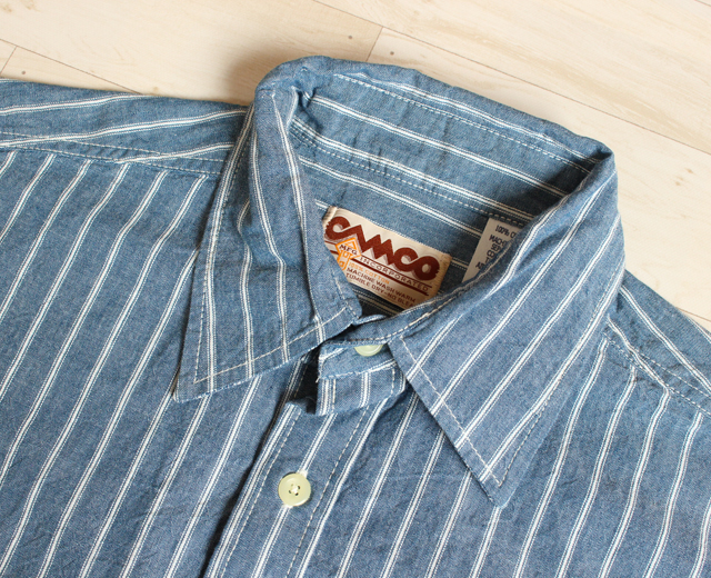 カムコ ストライプシャンブレーシャツ 半袖