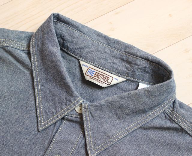 ファイブブラザー FIVE BROTHER シャンブレーワークシャツ 長袖