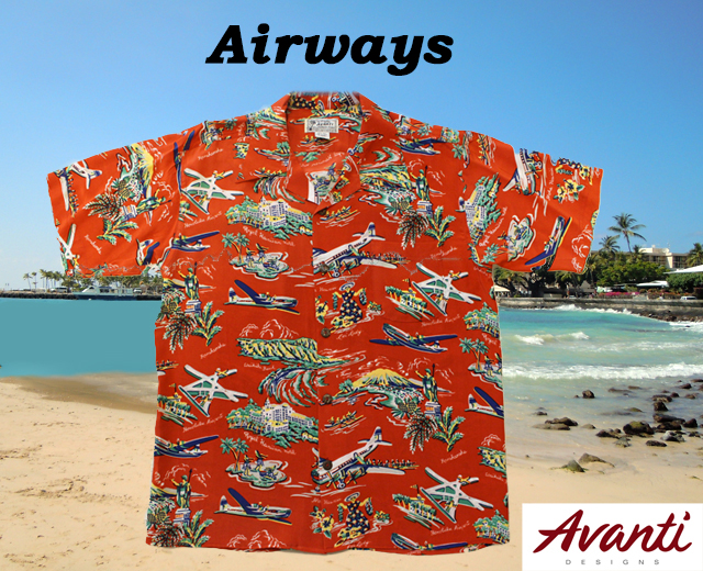 アロハシャツ、アヴァンティ、飛行機、画像