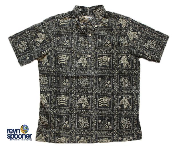 レインスプーナー アロハシャツ ラハイナセーラー ハワイ製 黒 ボーイズ
